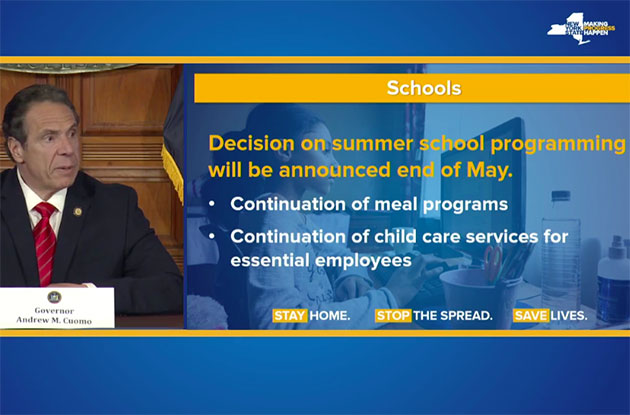 Governor Cuomo Announces New York Schools Will Remain Closed for the Remainder of the Year