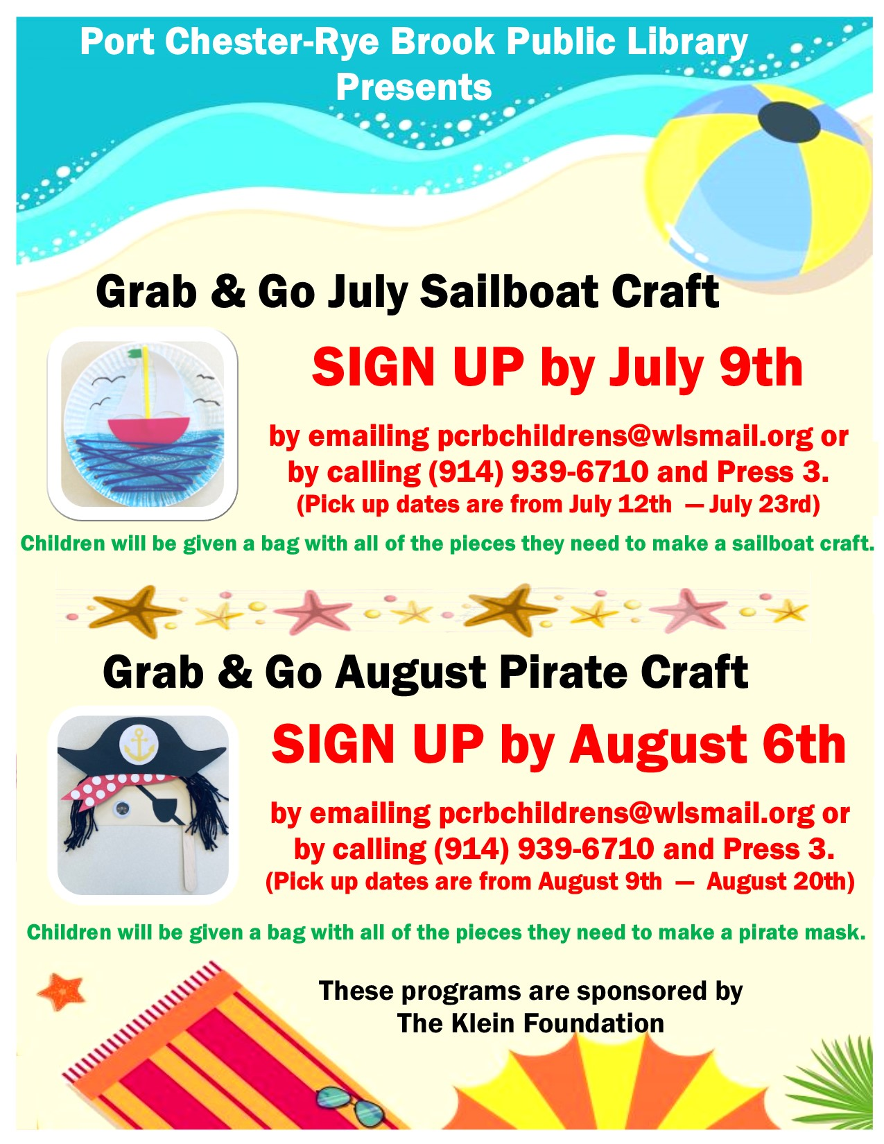 Summer Grab and Go Craft Pickup at Port Chester-Rye Brook Public Library