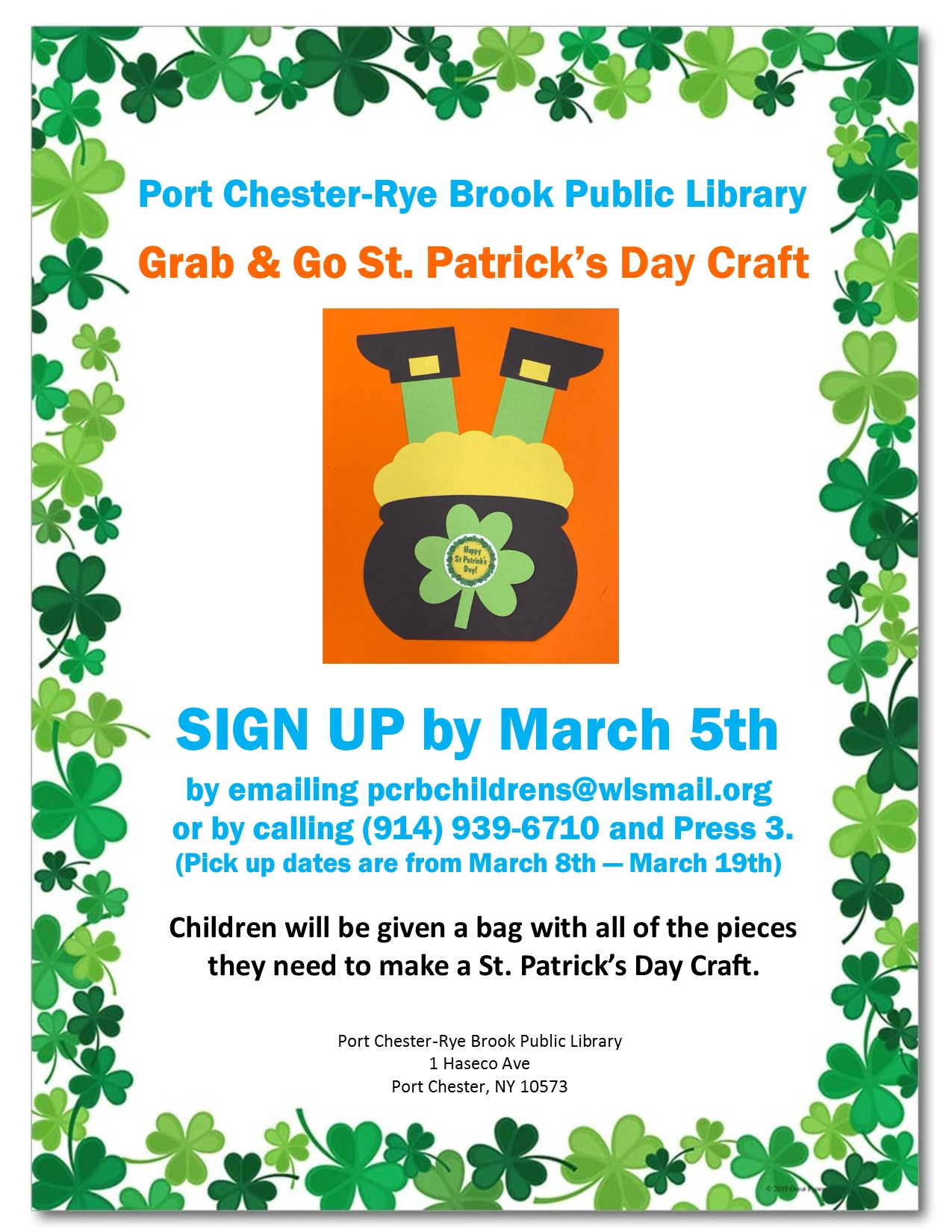IN PERSON March Grab and Go St. Patrick's Day Craft at Port Chester/Rye Brook Library