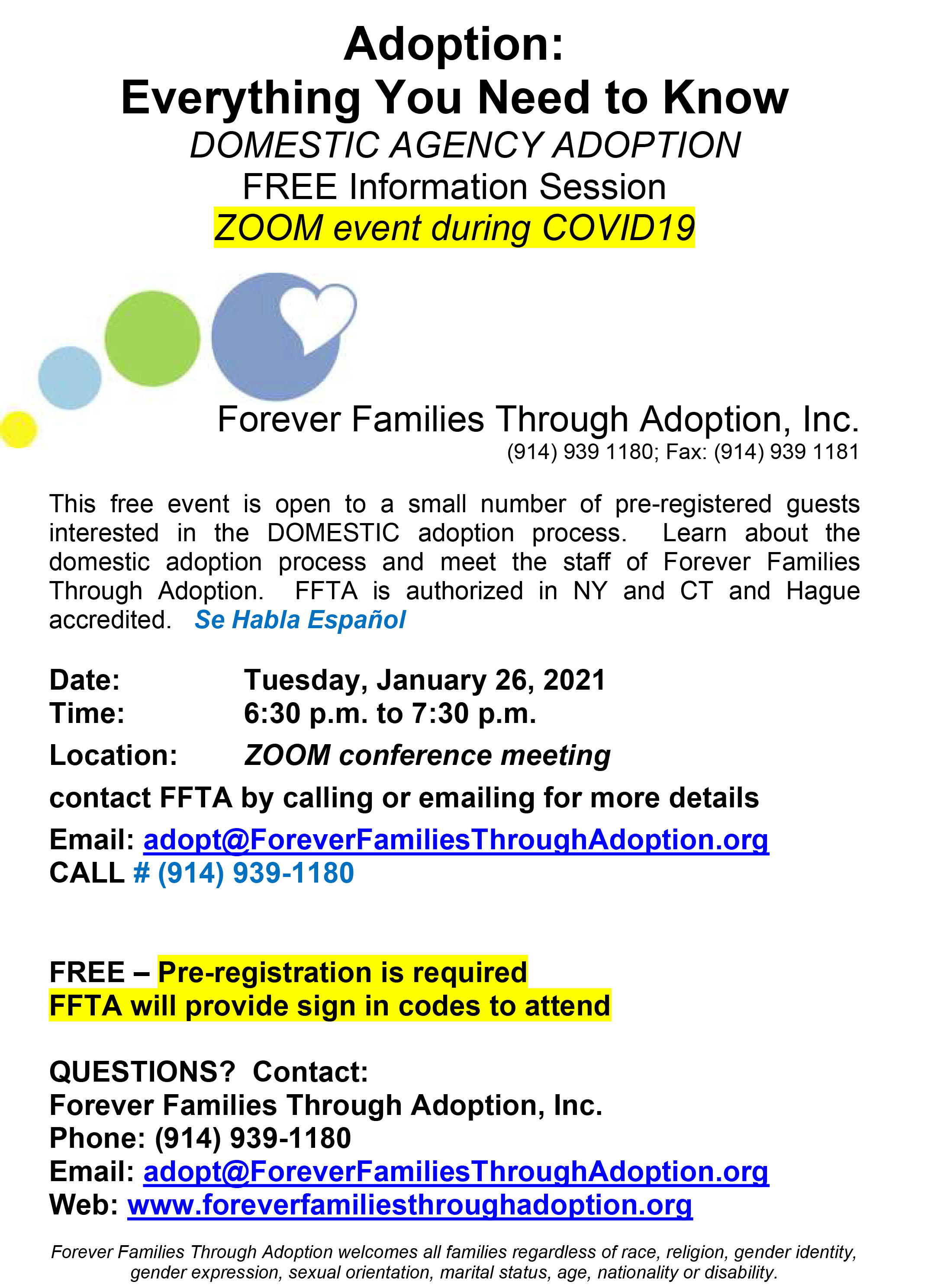 ONLINE Free ZOOM Adoption Information Session at Forever Families Through Adoption