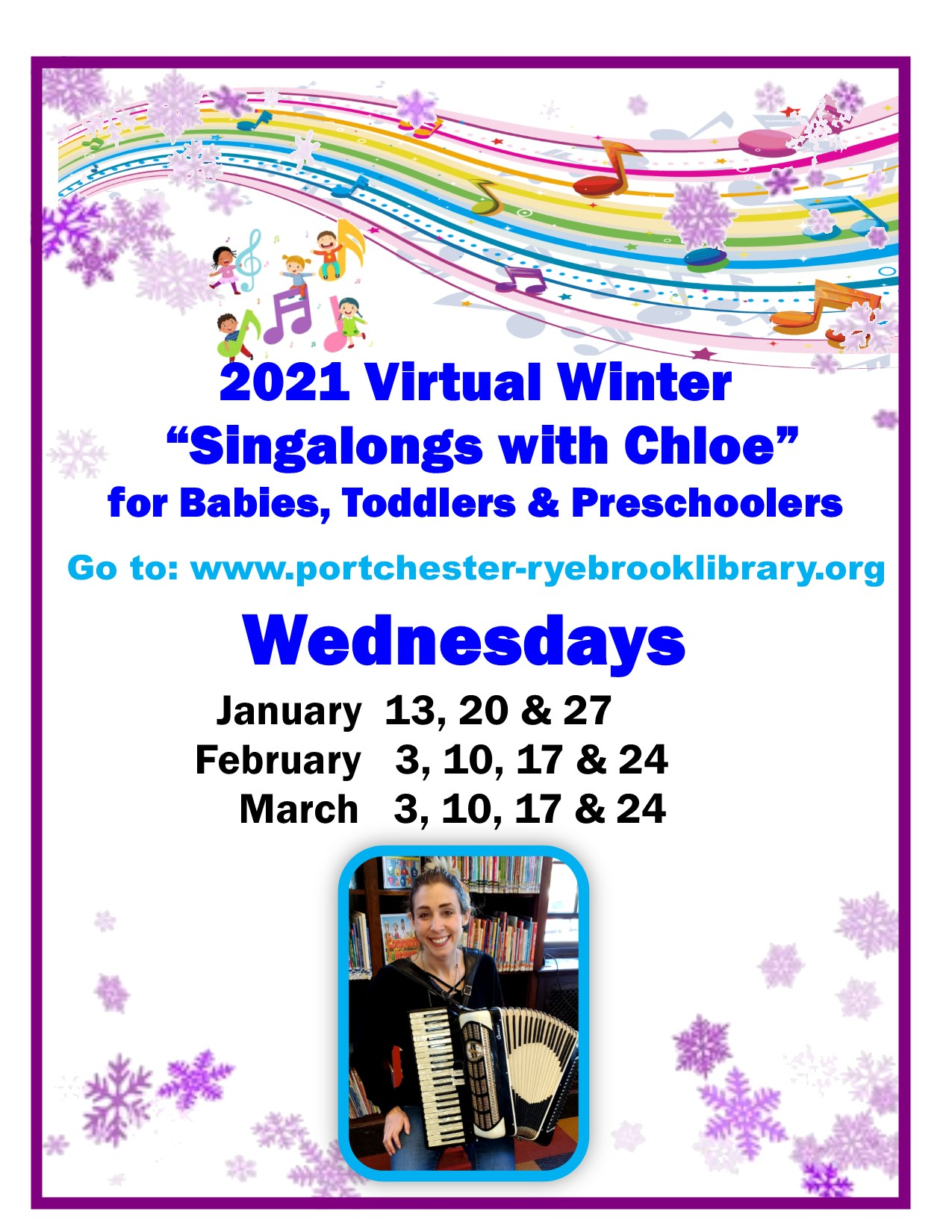 ONLINE Virtual Winter Singalongs with Chloe at Port Chester-Rye Brook Library