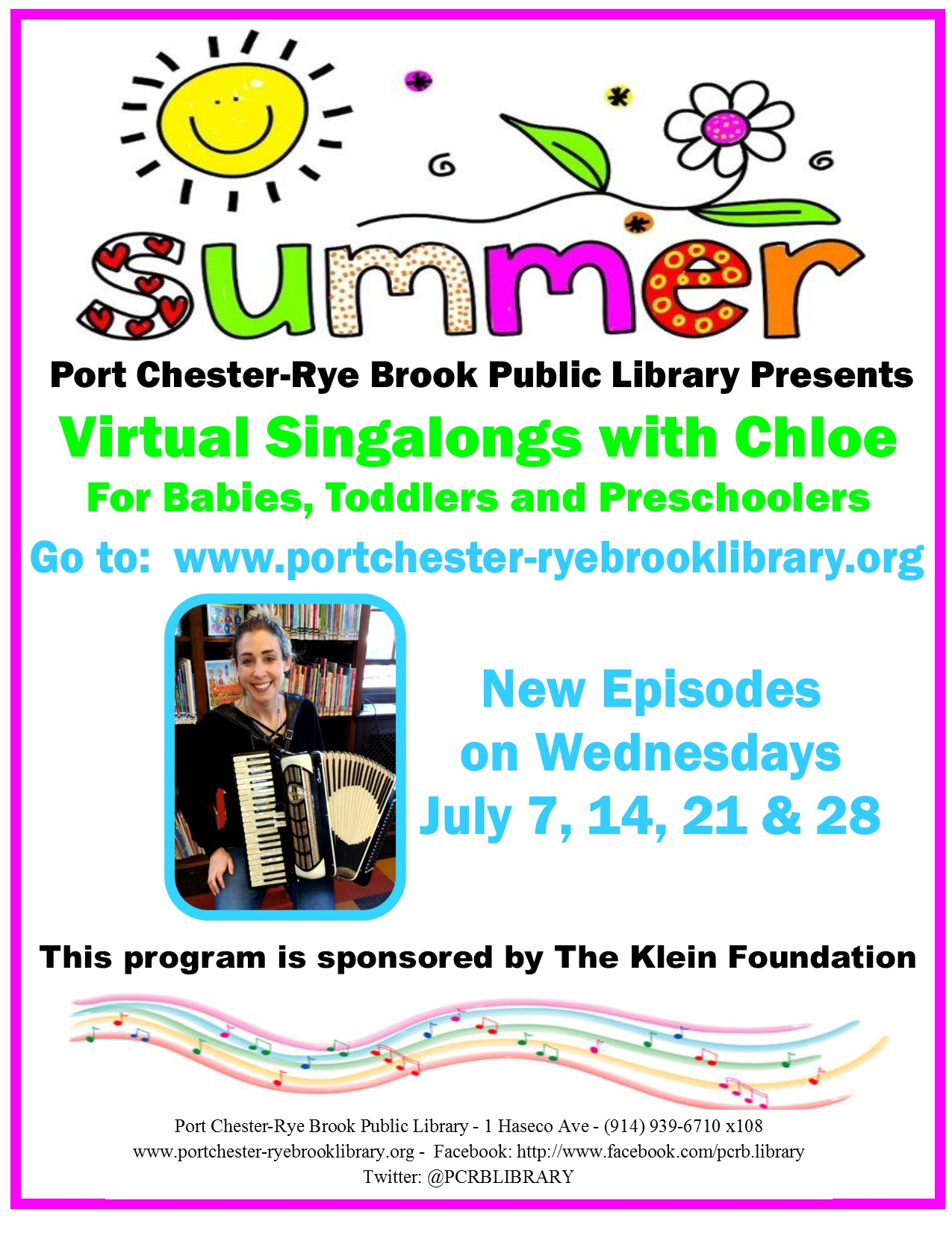 Virtual Summer Singalongs with Chloe at Port Chester-Rye Brook Public Library