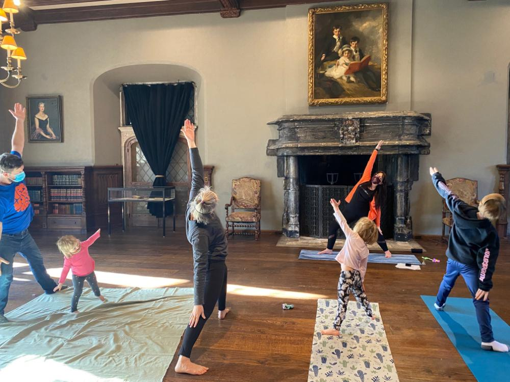 Family Yoga in the Cloister Garden at Planting Fields Arboretum