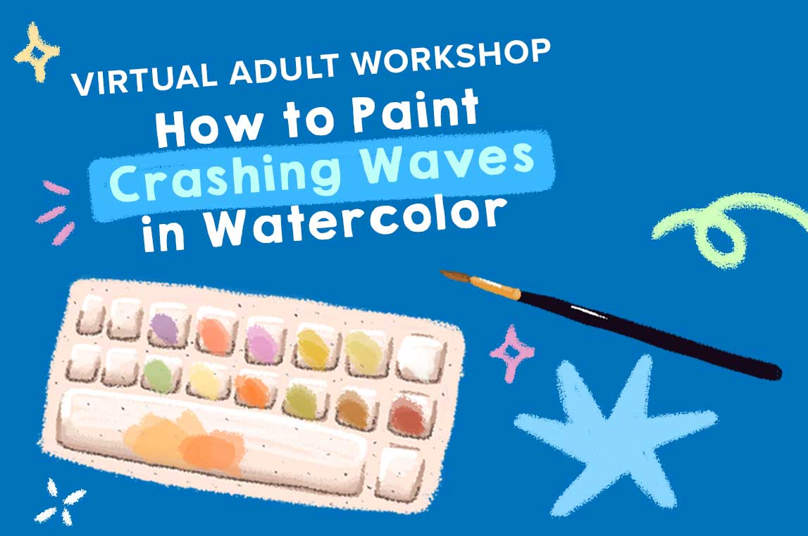 ONLINE Adult Workshop: How To Paint Crashing Waves In Watercolor at The Rye Arts Center