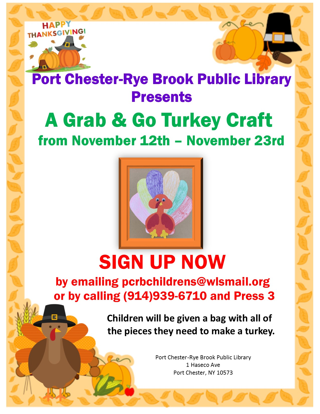 IN PERSON Grab and Go Thanksgiving Turkey Craft Pickup at the Port Chester-Rye Brook Public Library at Port Chester/Rye Brook Library
