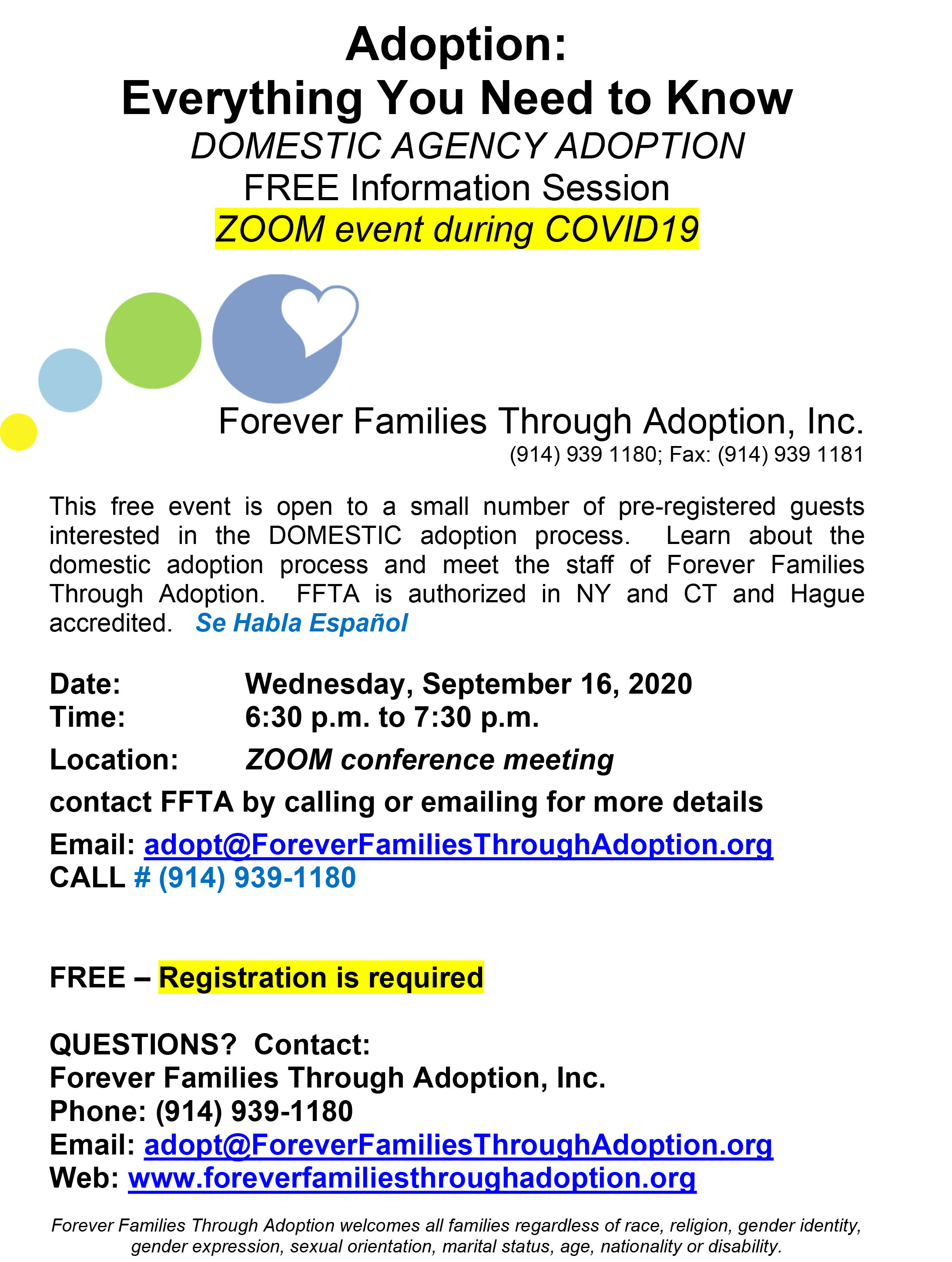 ONLINE Information Session at Forever Families Through Adoption