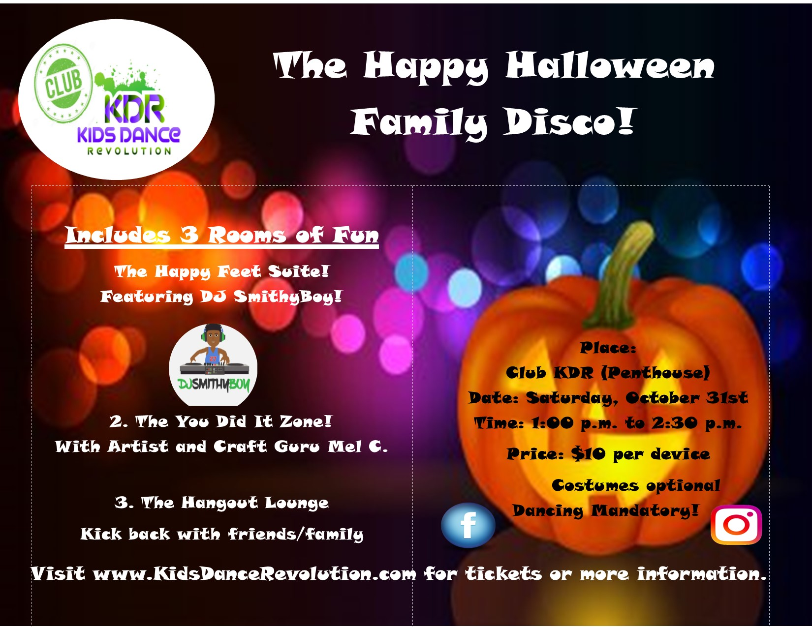 ONLINE The Happy Halloween Family Disco! at Club KDR (Penthouse)