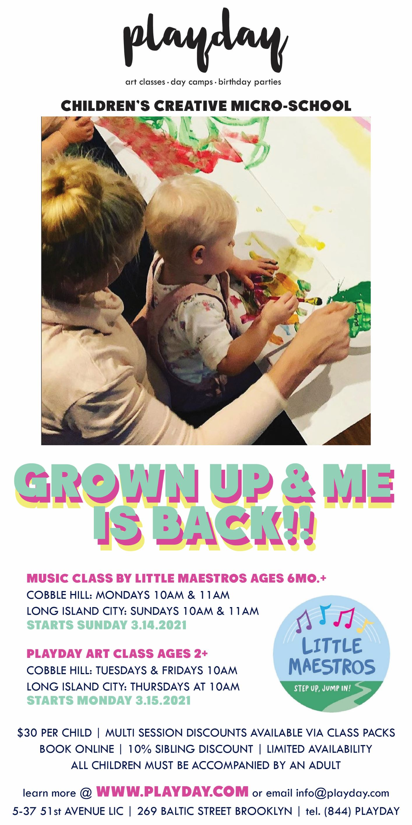 IN PERSON GROWN UP + ME MUSIC CLASS at PLAYDAY LONG ISLAND CITY