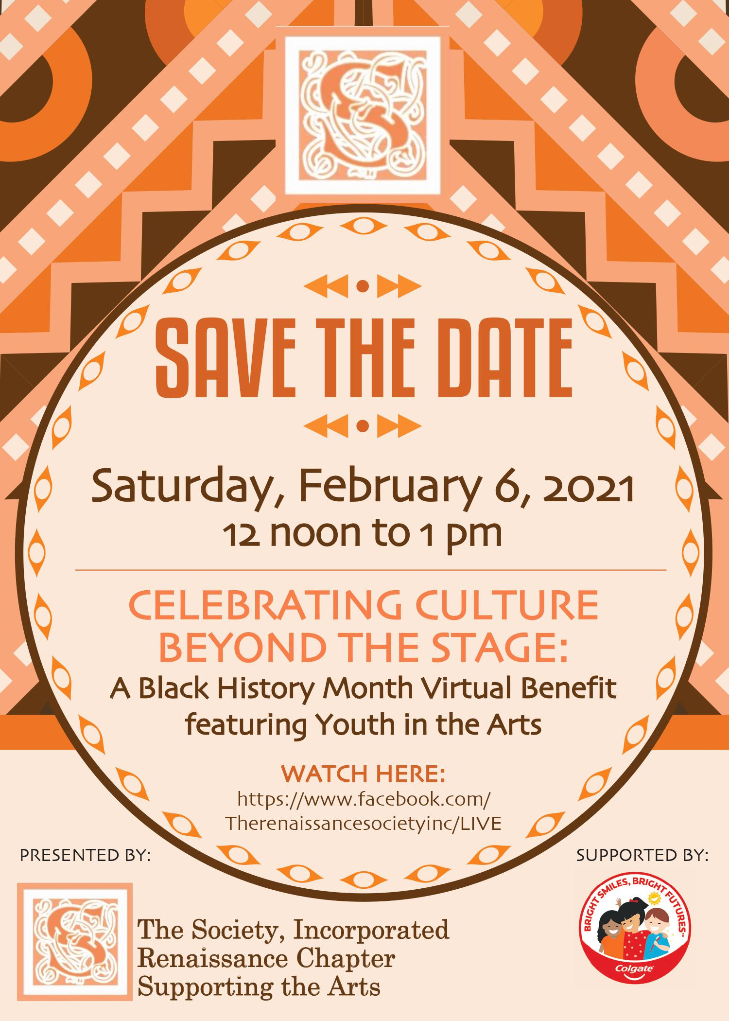 ONLINE Celebrating Culture Beyond The Stage: A Black History Month Virtual Benefit featuring Youth in the Arts at The Society, Incorporated Renaissance Chapter