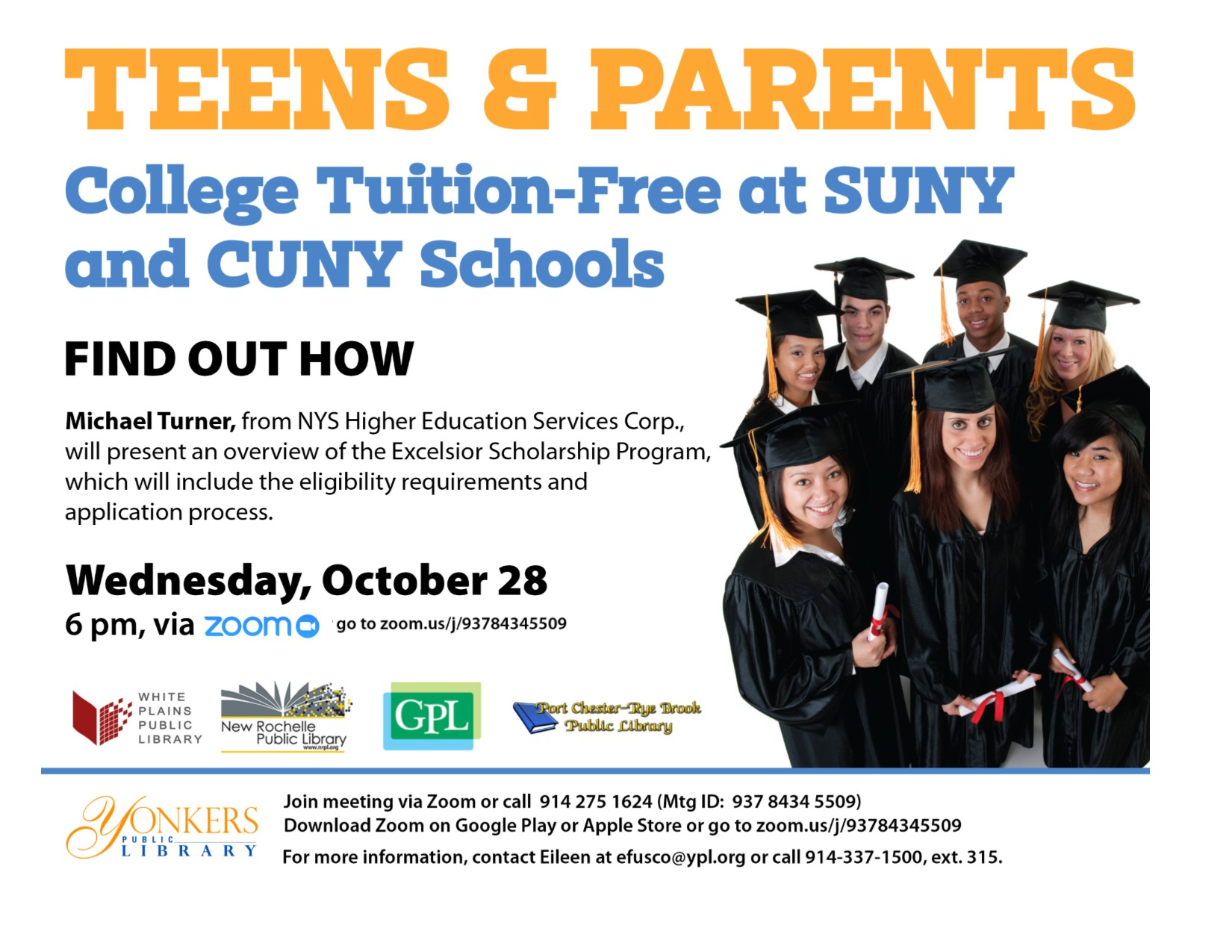 ONLINE The Port Chester-Rye Brook Public Library presents: a Zoom Financial Aid and Paying for College: What Every Student and Parent Needs to Know at Port Chester-Rye Brook Library