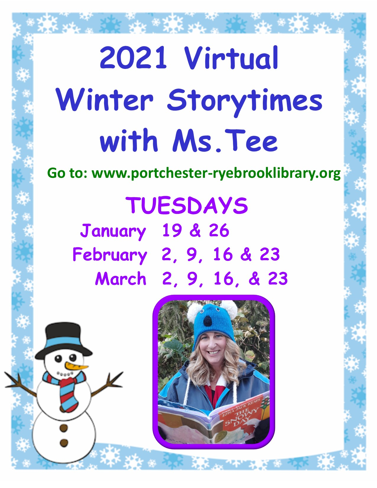 ONLINE Virtual Winter Storytime with Ms. Tee at Port Chester-Rye Brook Library