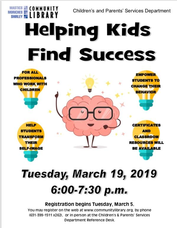Helping Kids Find Success at Mastic, Moriches, Community library