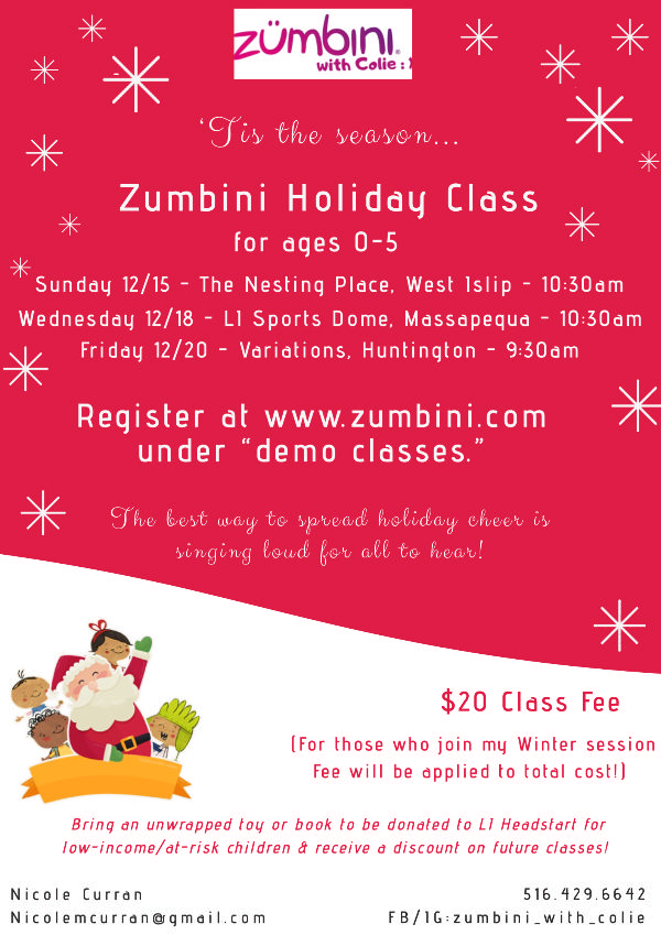 Zumbini Holiday Class at The Nesting Place