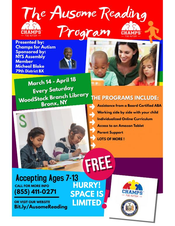 Champs for Autism Ausome Reading Program at Woodstock New York Public Library