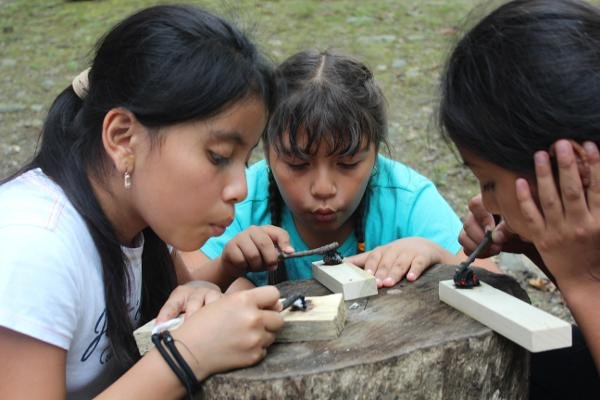 Earth Living Skills for Children: Coal Burning Part II: Making Bowls and Spoons with Coals at The Nature Place Day Camp