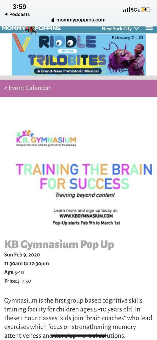 KB Gymnasium Pop Up at KB Gymnasium