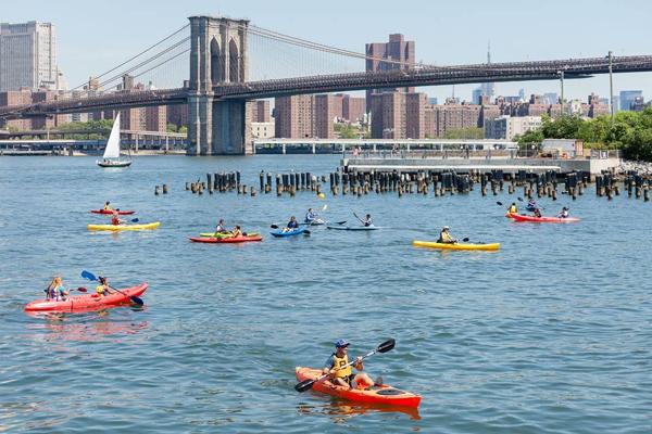 Kayaking at Brooklyn Bridge Park Boathouse at Pier 2