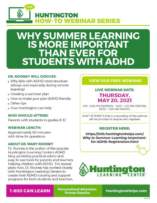 Why Summer Learning Is More Important Than Ever for Students with ADHD at Huntington Learning Center