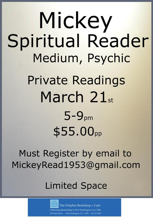 'Best of Long Island' Mickey, Spiritual Reader at Dolphin Bookshop at The Dolphin Bookshop