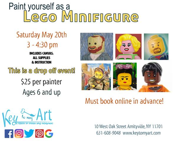 Minifig Yourself! Kid's Paint Event - Paint your self portrait Lego Style! at Key to My Art