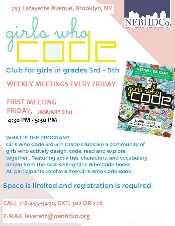 Girls who Code Club for girls in grades 3rd-5th at Northeast Brooklyn Housing Development Corporation