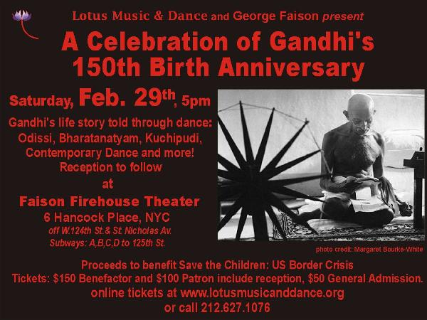 A Celebration of Gandhi's 150th Birth Anniversary at Faison Firehouse Theater
