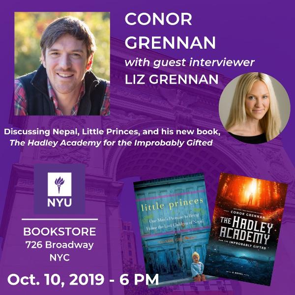 Book Signing Event with Conor Grennan, Middle Grade Fantasy Author at NYU Bookstore