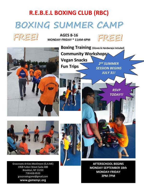 Free Boxing Summer Camp at G.A.ME, Inc.