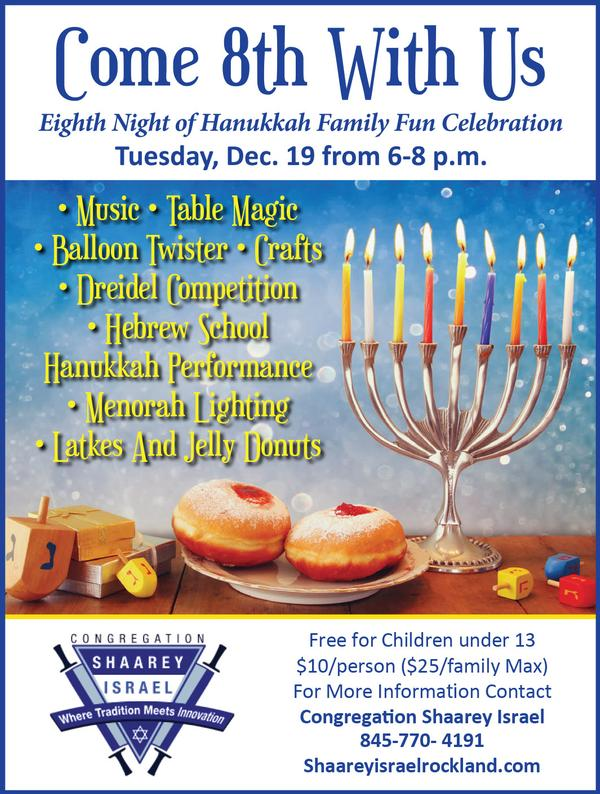 Eighth Night of Hanukkah Family Fun Celebration at Congregation Shaarey Israel