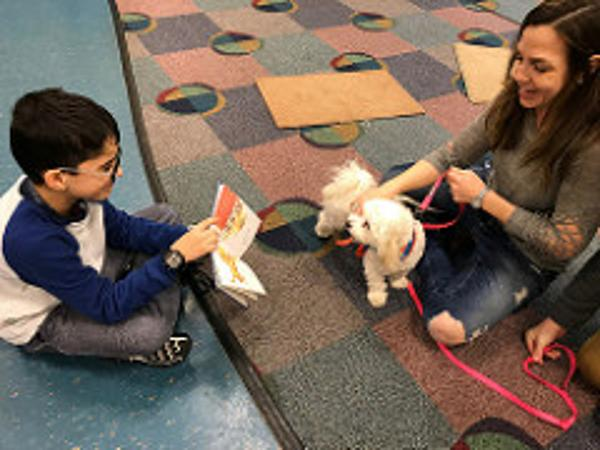 Reading to Lexie at Ossining Public Library