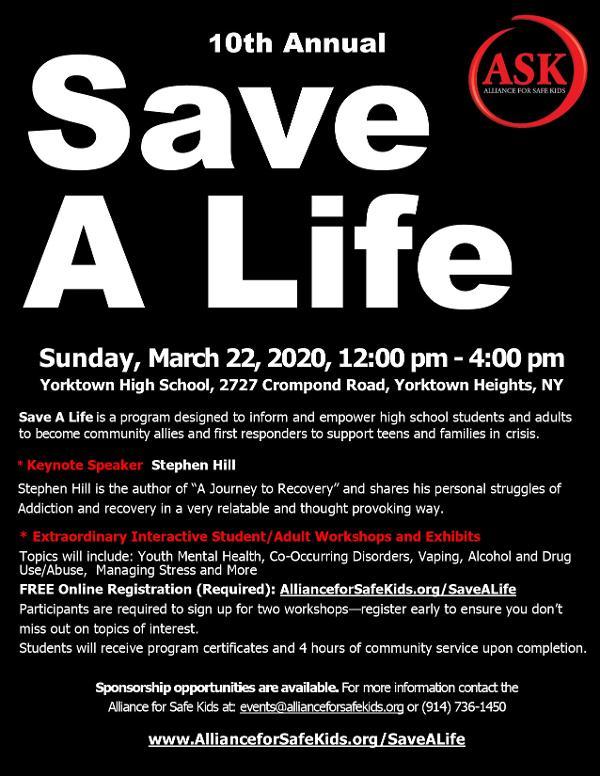 10th Annual Save a Life Forum at Yorktown High School