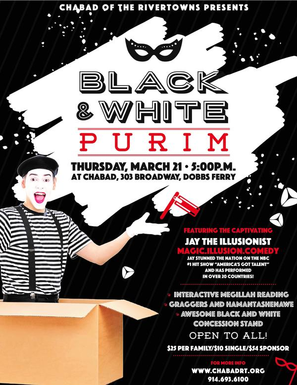 Black and White Purim Family Extravaganza at Chabad of the Rivertowns