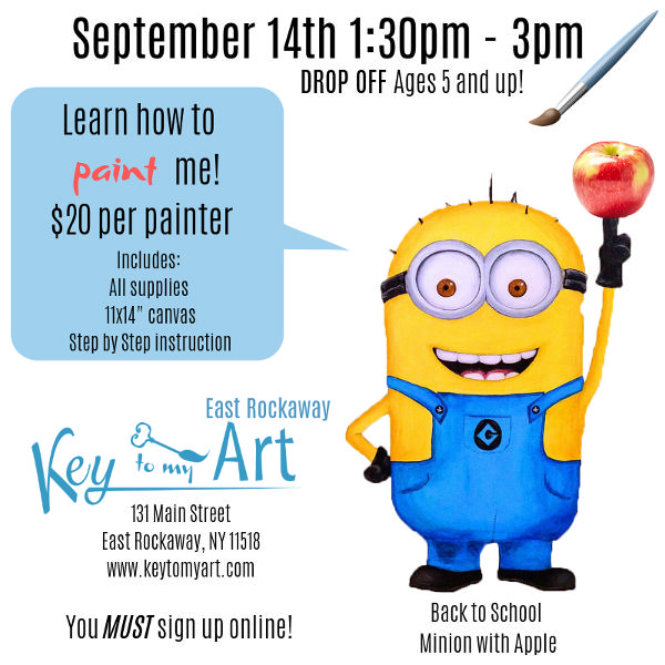 Back to School Paint Event - Paint Minion with Apple at Key to My Art East Rockaway!