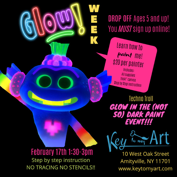 Glow in the (Not so Dark) Paint Week at Key to My Art Amityville