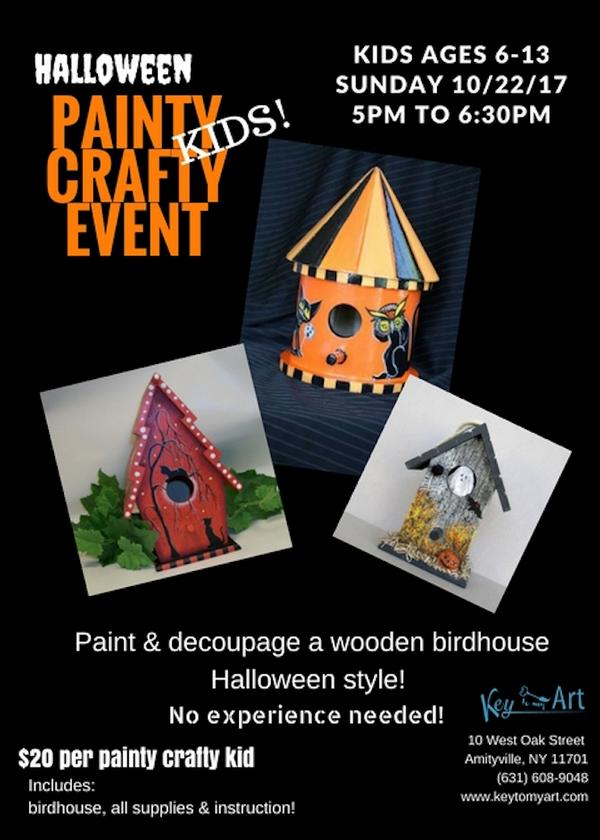 Halloween Painty Crafty Birdhouse Event for Kids at Key to My Art