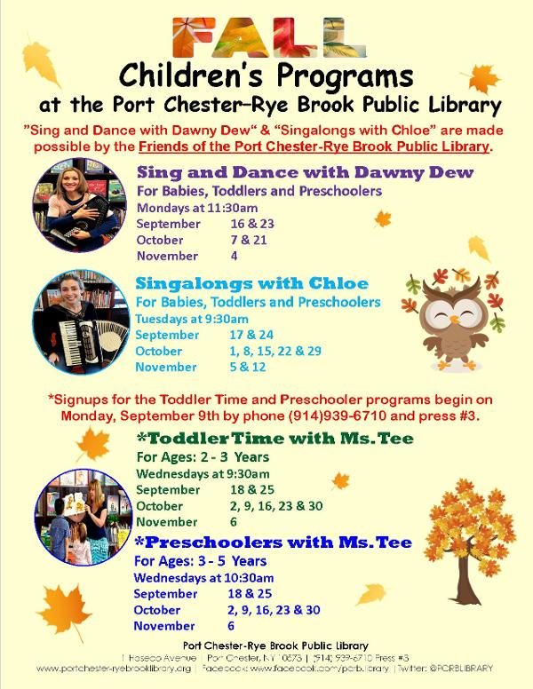 Preschoolers with Ms. Tee at Port Chester-Rye Brook Public Library