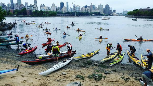 Kayaking from Socrates Sculpture Park Beach at Hallets Cove at Socrates Sculpture Park, LIC Boathouse
