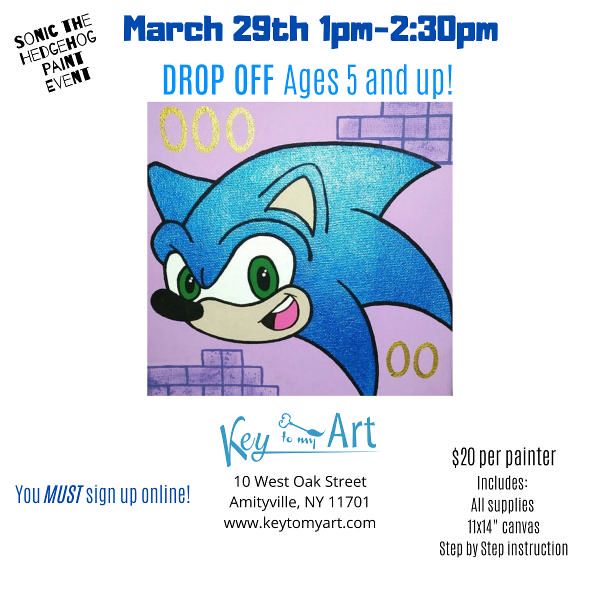 Sonic the Hedgehog Paint Event at Key to My Art