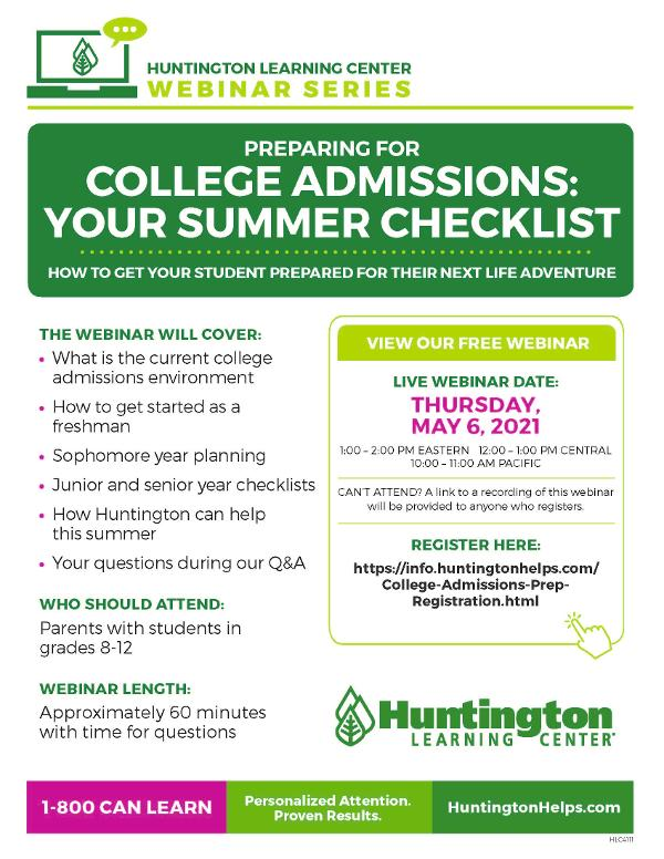 Preparing for College Admissions: Your Summer Checklist at Huntington Learning Center