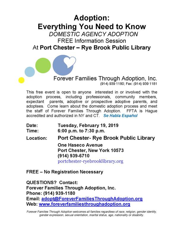 Free Information Session at Port Chester-Rye Brook Public Library