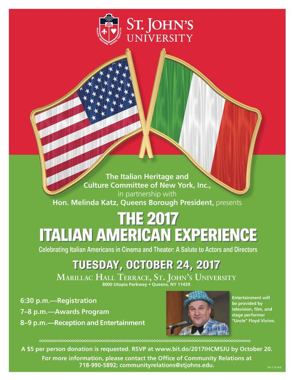 Celebrating Italian Americans in Cinema & Theater: A Salute to Actors & Directors at St. John's University