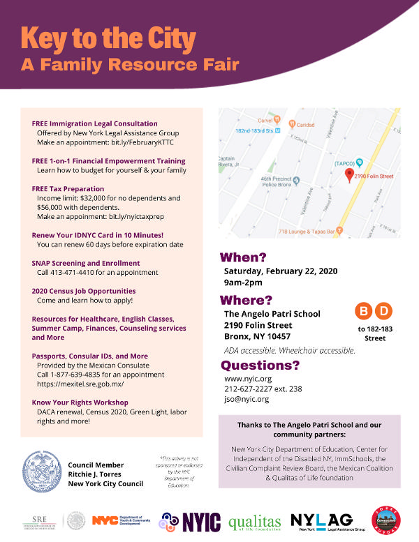 NYIC Key to the City: Family Resource Fair at The Angelo Patri School