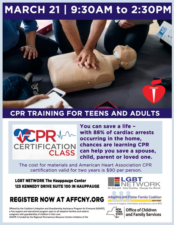 CPR Training for Teens and Adults at LGBT Network The Hauppauge Center