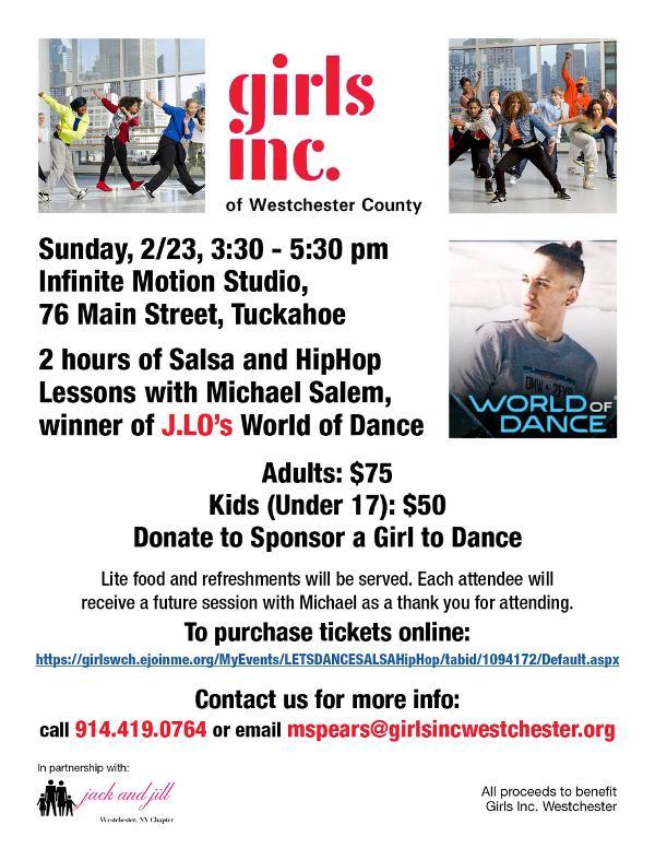 Salsa & Hip Hop Dance Lesson - Girls Inc. Westchester at Infinite Motion Studio