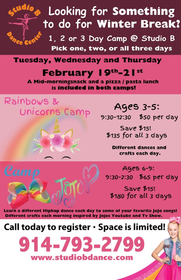Rainbows & Unicorns and Camp Jojo @ Studio B at Studio B Dance Center