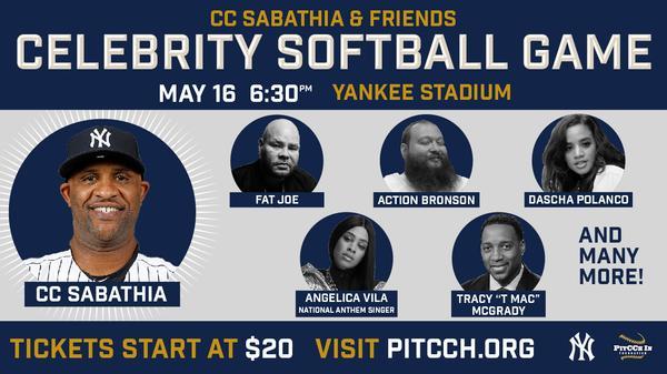 CC Sabathia & Friends Celebrity Softball Game at Yankee Stadium
