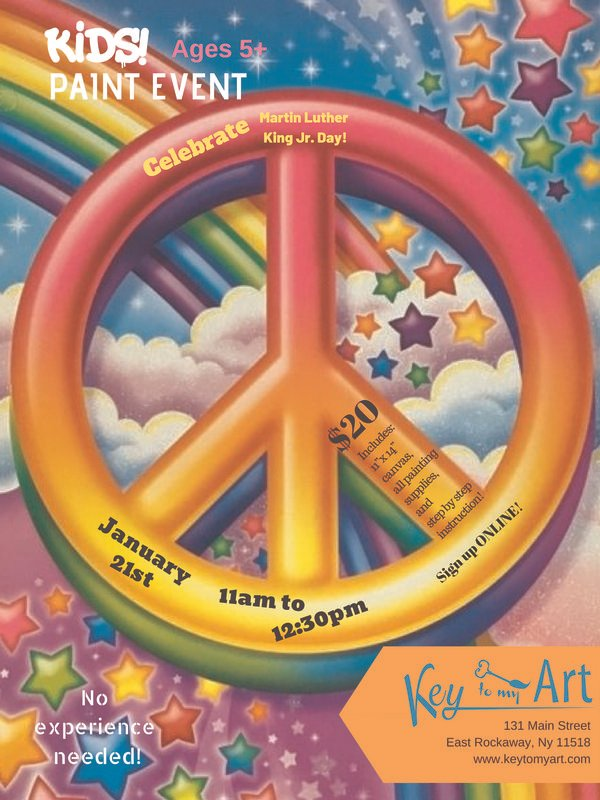 Martin Luther King Jr. Day Paint Event - Lisa Frank inspired Peace Symbol! at Key to My Art East Rockaway