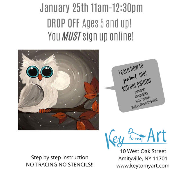 Snowy Owl Paint Event at Key to My Art