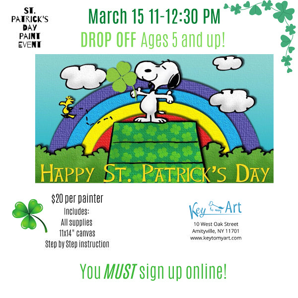 St. Patrick's Day Paint Event - Snoopy at Key to My Art