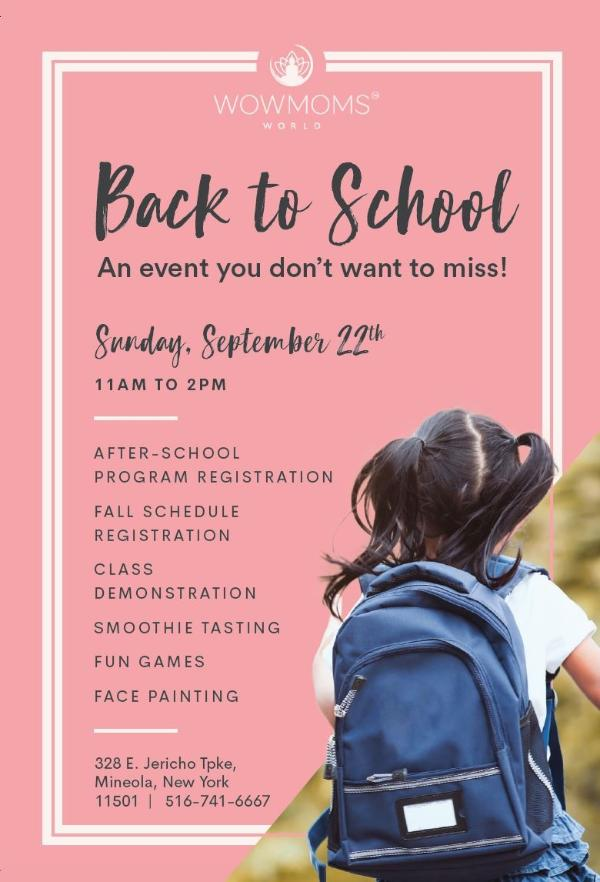 Back To School! at Wowmoms World Long Island